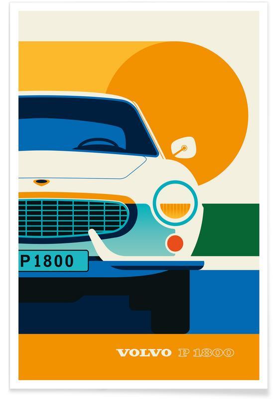 Voitures, Volvo P1800 Front affiche