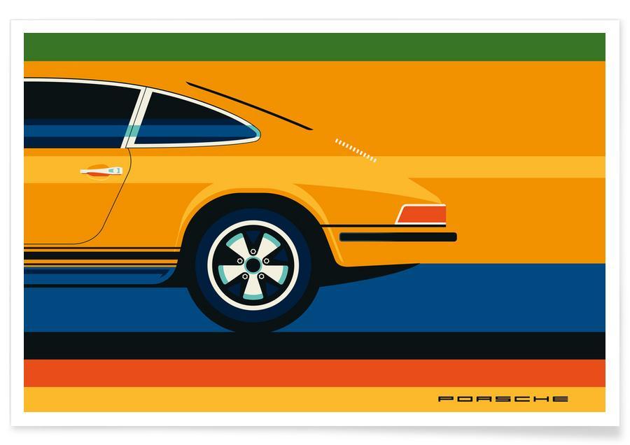 Voitures, Porsche Back affiche