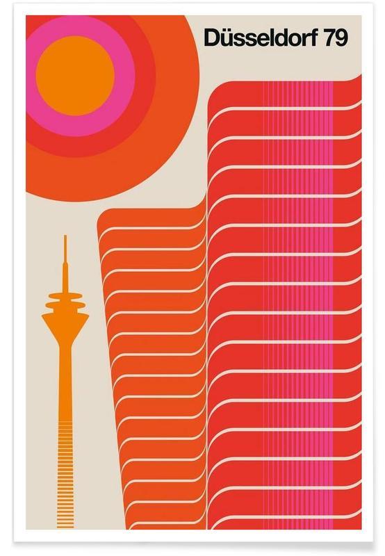 Retro, Vintage Düsseldorf 79 Poster