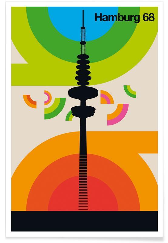 Hamburg, Retro, Vintage Hamburg 68 poster