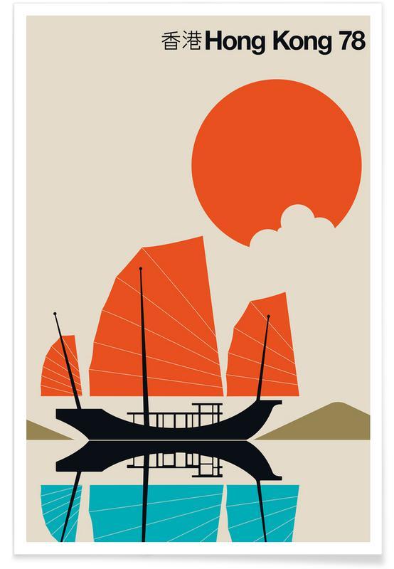 Hongkong, Både, Rejser, Vintage Hong Kong 78 Plakat