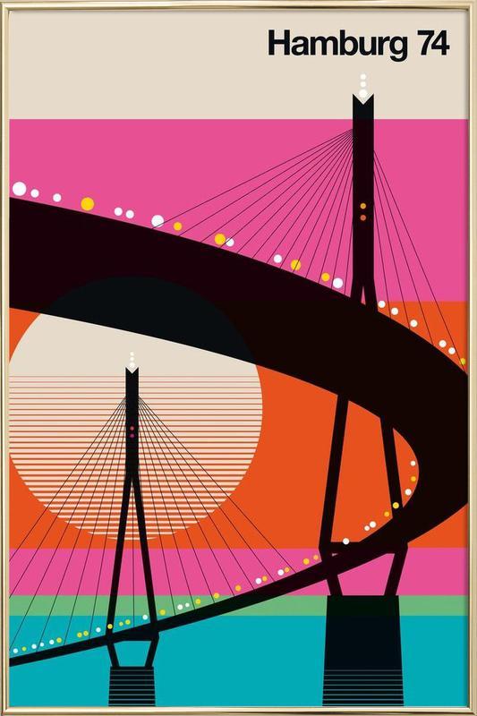 Hamburg 74 Poster in Aluminium Frame