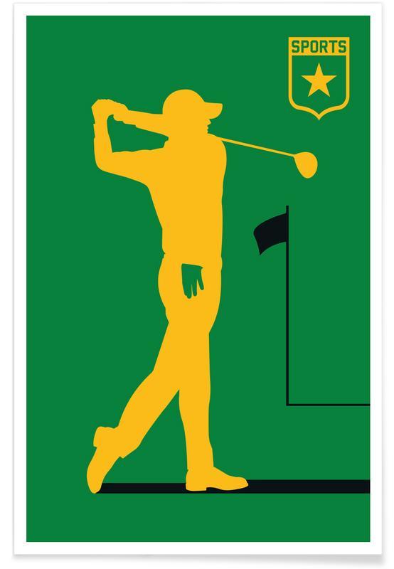 Golf, Golf - Silhouette affiche