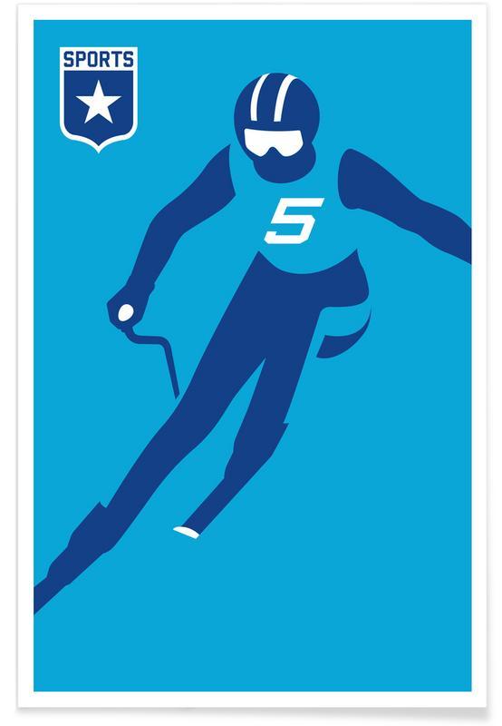 Slalom Silhouette Poster