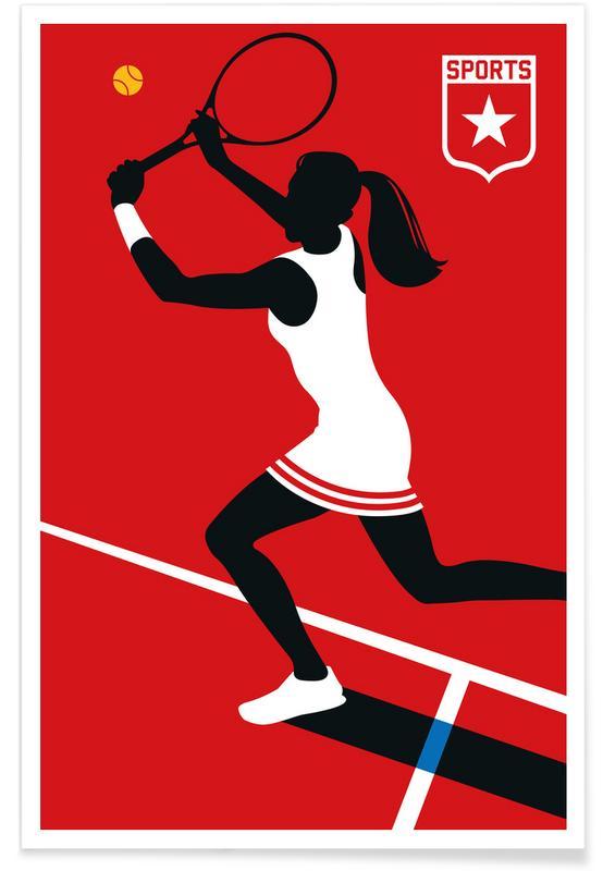 Tennis, Tennis-Silhouette -Poster
