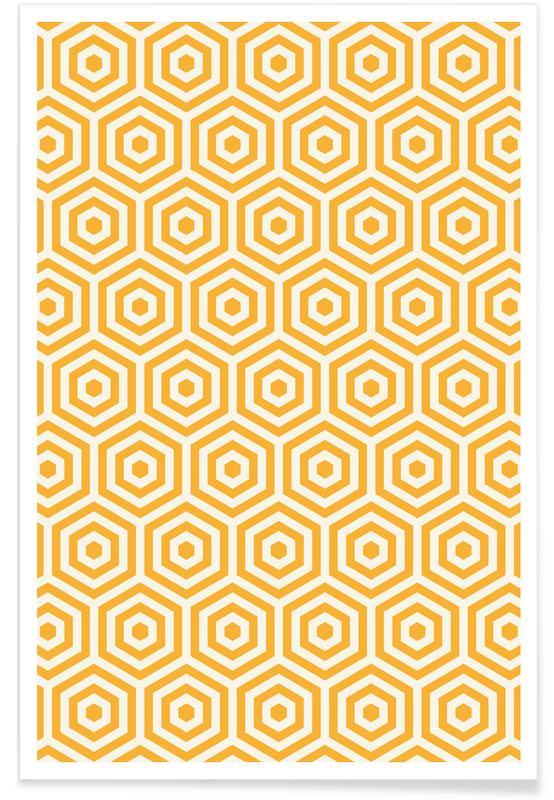 Motif ruche jaune affiche