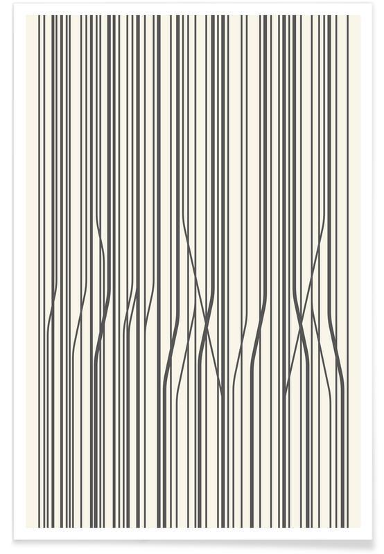 Mønstre, Sort & hvidt, Birch Tree Pattern Plakat