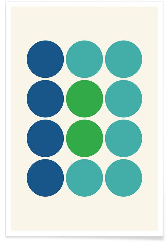 Blue and Green Circles Poster