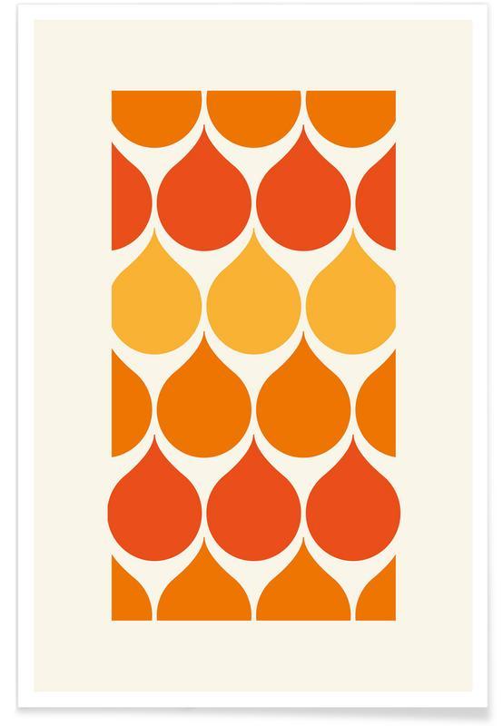 Oranje en gele regendruppels poster