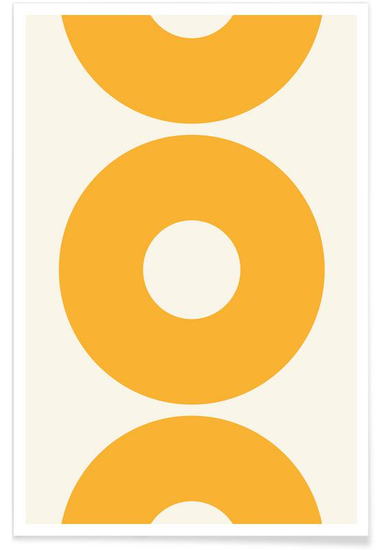 Yellow Sun Circles Poster