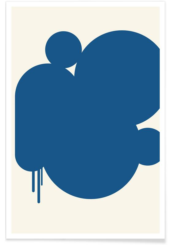 Blue Rain Puddles Poster