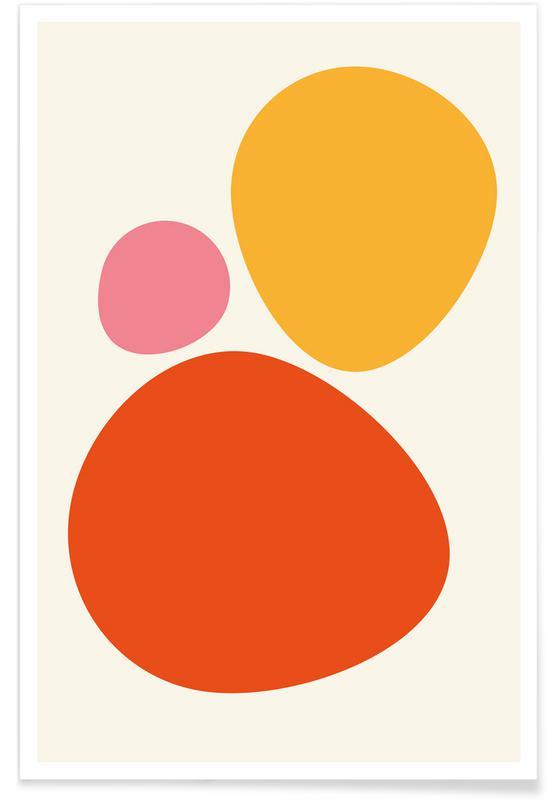 Cailloux orange multicolores affiche