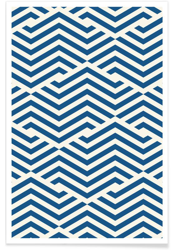 Blue Angular Lines Poster