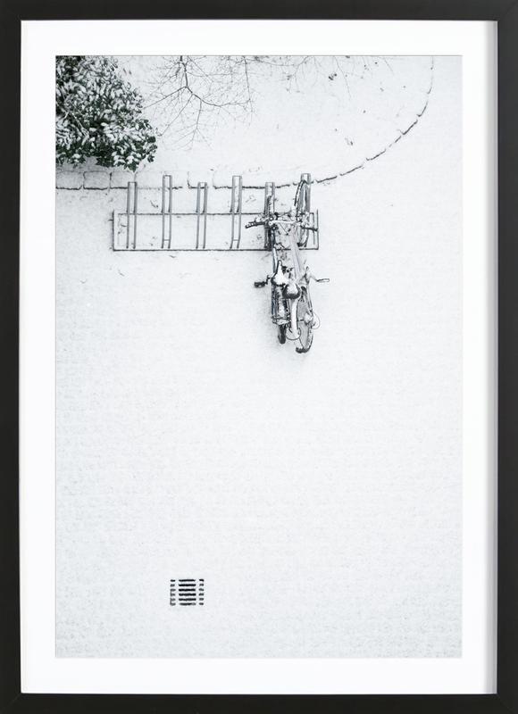 Winter White Bikes -Bild mit Holzrahmen
