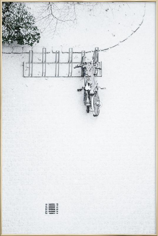 Winter White Bikes Poster in Aluminium Frame