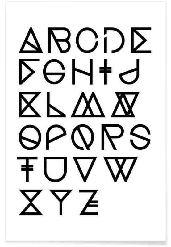 Alphabet et lettres, Geometrical ABC - white affiche
