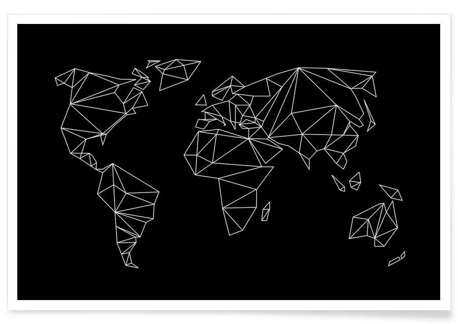 Geometrical World - black Poster