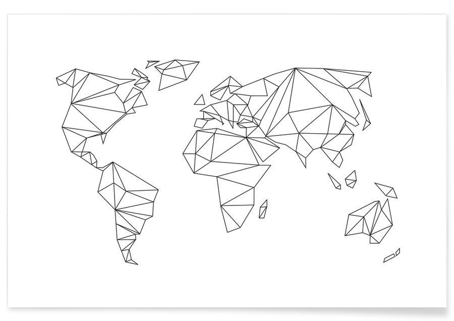 Noir & blanc, Cartes du monde, Monde géométrique blanc affiche