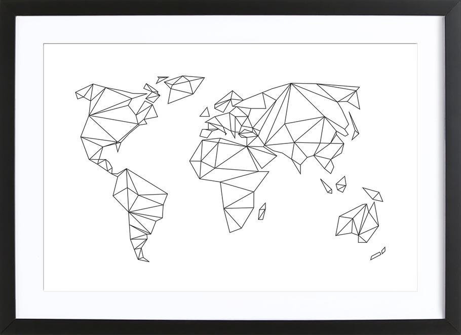Geometrical World - white Poster i träram