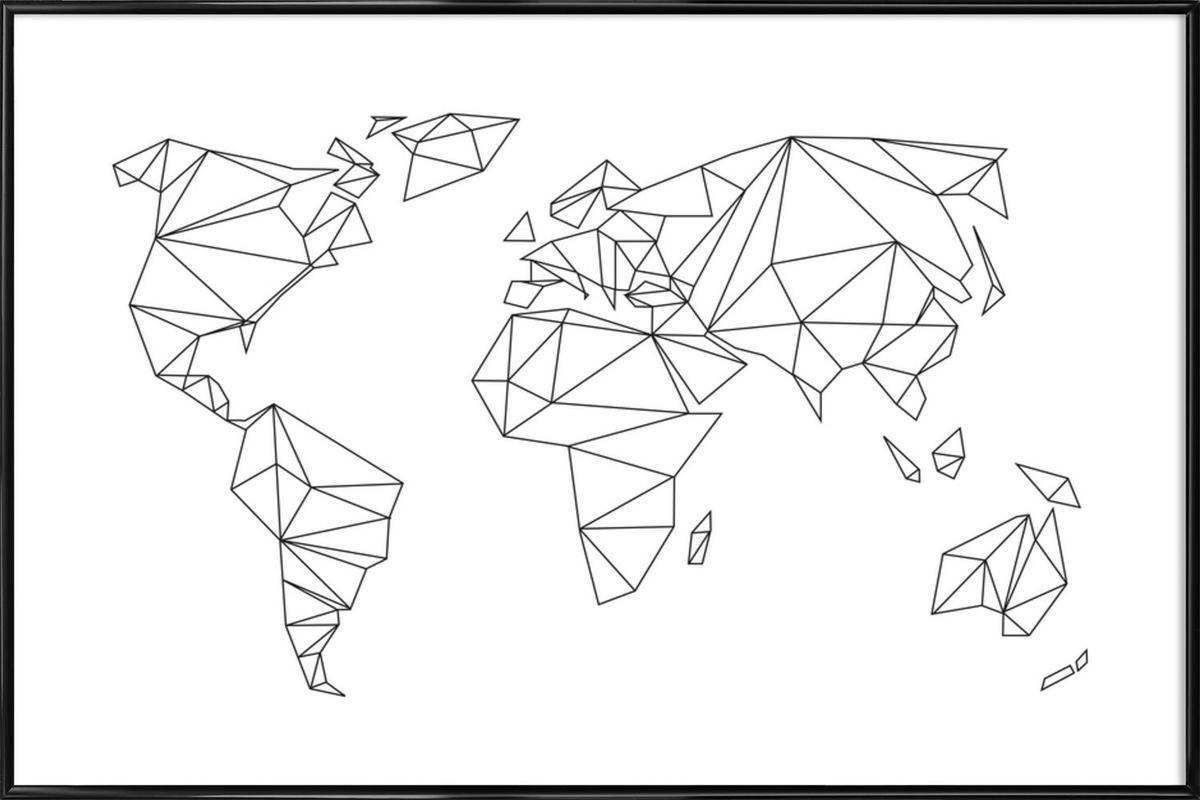 Geometrical World - white Framed Poster