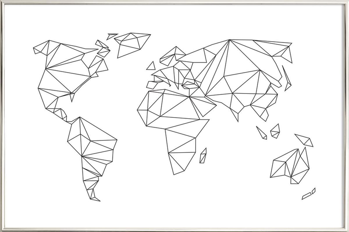 Geometrical World - white Poster in Aluminium Frame