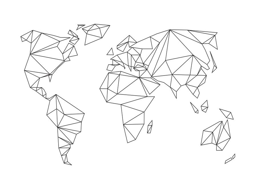 Geometrical World - white Lærredstryk