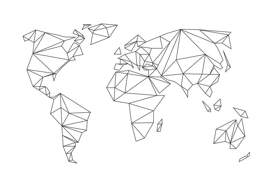 Geometrical World - white Aluminiumtavla