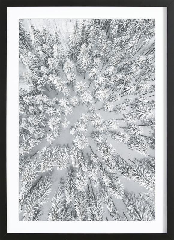Snowy Forests affiche sous cadre en bois