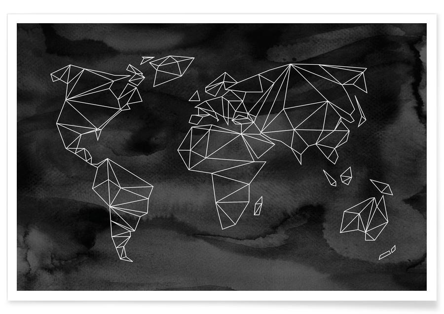 Travel, World Maps, Geometrical World - Black Aquarell Poster