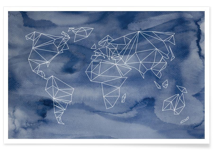 Geometrical World - Indigo Aquarell Poster