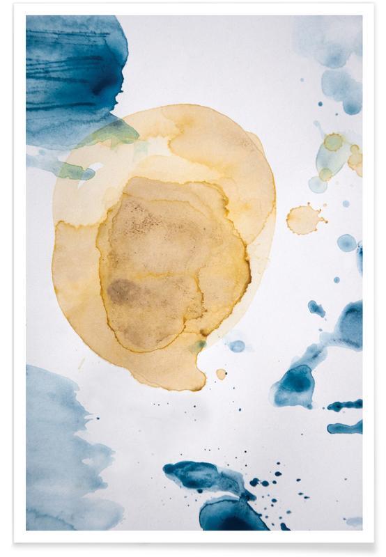 , Aquarelle Mustard Yellow Meets Sea Blue affiche