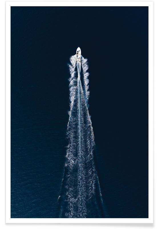 Ocean, Lake & Seascape, Boats, Boat Trip Trough Blue Poster