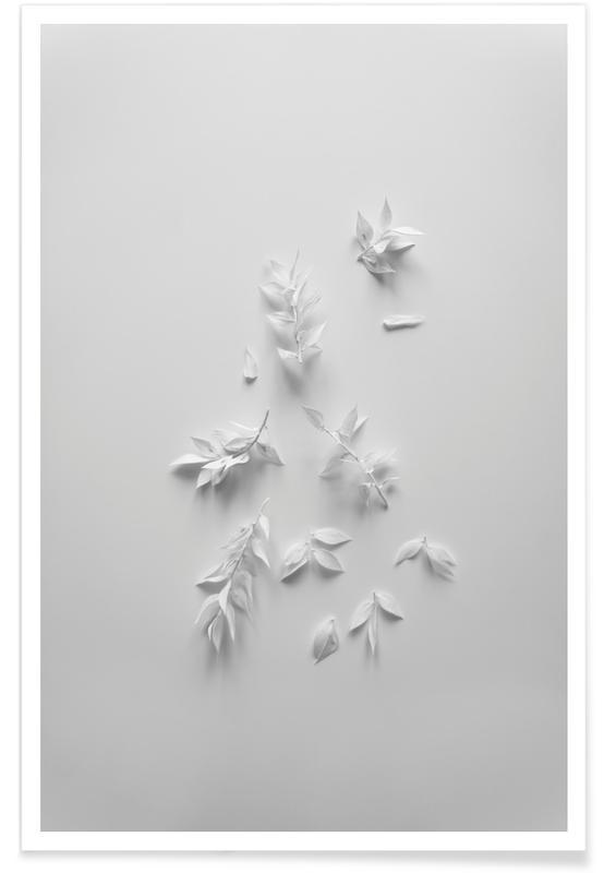 Feuilles & Plantes, Minimalism White Bouquet affiche