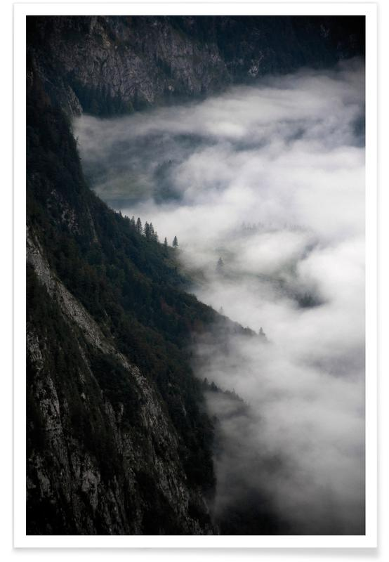 Mountains, Fantastic Foggy Morning In The Mountains Poster