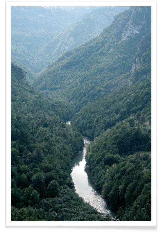 Paysages abstraits, Voyages, Arbres, Forêts, The River through the Forest affiche