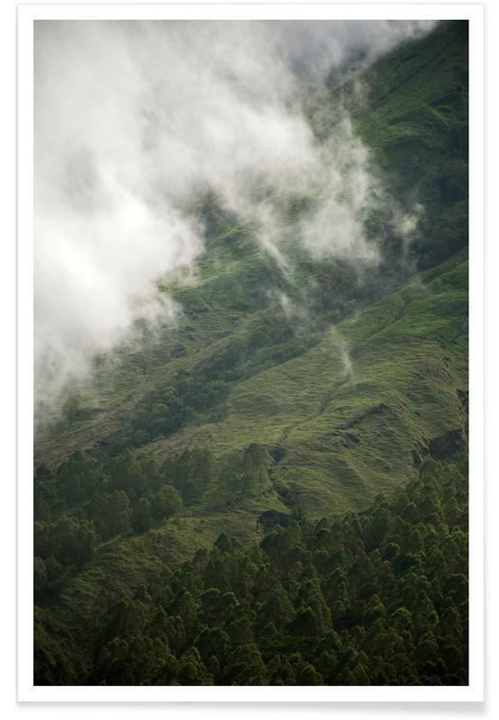 Paysages abstraits, Voyages, Montagnes, Ciels & nuages, Hiking through Greens & Clouds affiche