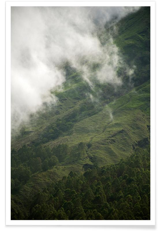 Berge, Reise, Himmel & Wolken, Abstrakte Landschaften, Hiking through Greens & Clouds -Poster