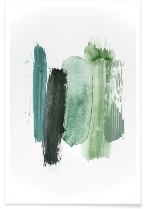 Paysages abstraits, Terre, Arbres, Forêts, Abstract Aquarelle - Green Shades of the Woods affiche
