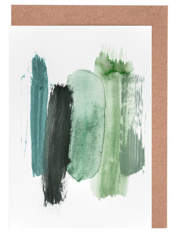 Wälder, Abstrakte Landschaften, Bäume, Erde, Abstract Aquarelle - Green Shades of the Woods -Grußkarten-Set