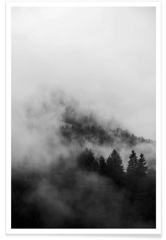 Paysages abstraits, Voyages, Montagnes, Ciels & nuages, Forêts, Black Foggy Forests affiche
