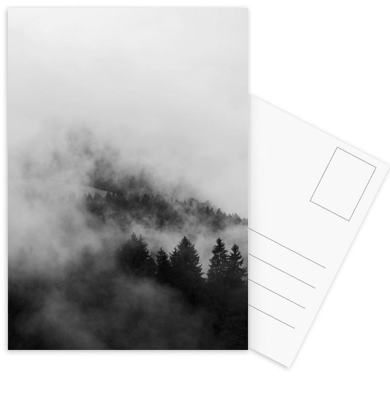 Lucht en wolken, Bergen, Reizen, Bossen, Abstracte landschappen, Black Foggy Forests ansichtkaartenset