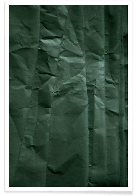 Aarde, Abstracte landschappen, Bossen, Emerald Green Abstract Paper Forest poster