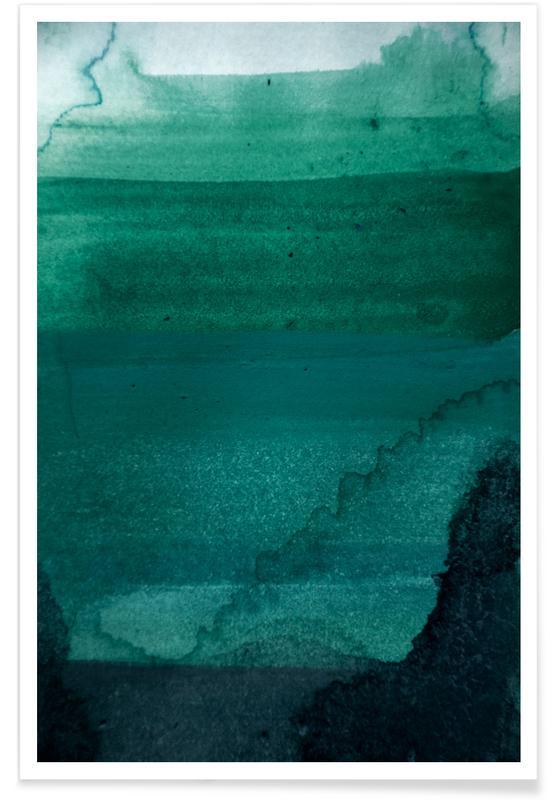 , Aquarelle - Dark Forest Greens Poster