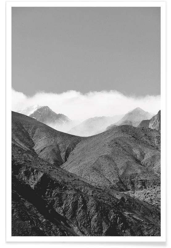 Berge, Schwarz & Weiß, Clouds In The Mountains -Poster