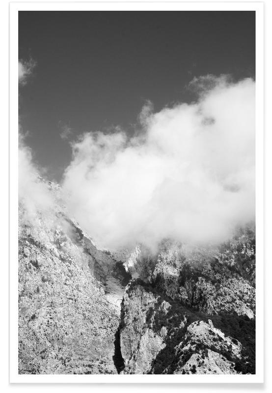 Montagnes, Noir & blanc, Hiking through Mountains & Clouds affiche