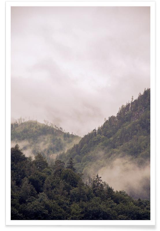 Montagnes, Ciels & nuages, Misty Moody Woods affiche