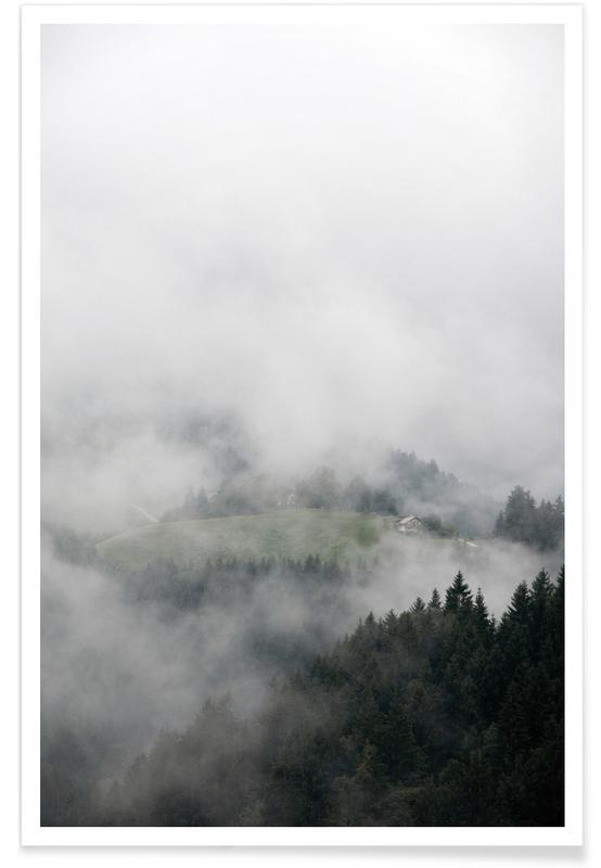 Skies & Clouds, Forests, The House in the Mountains Poster