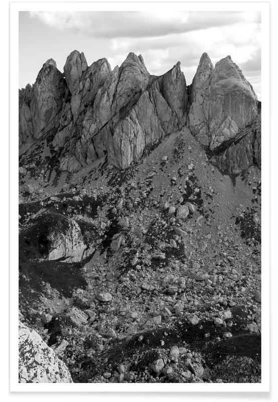 Montagnes, Noir & blanc, Hiking to the Top affiche