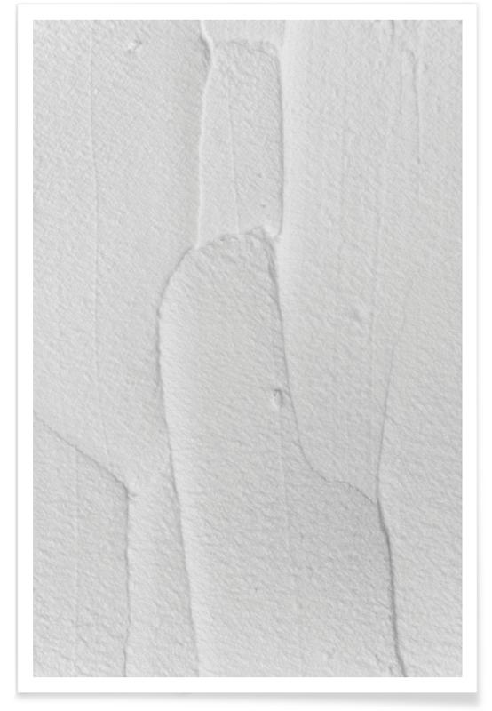 , White Textures 3 Abstract Shapes -Poster