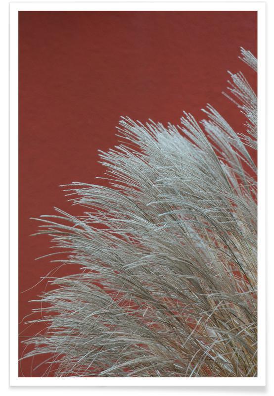 Abstracte landschappen, Bladeren en planten, Grasses In The Wind Terracotta poster